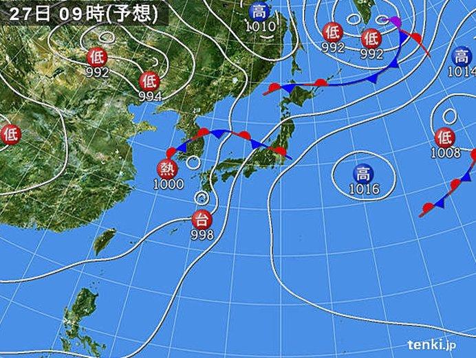2つの熱帯低気圧が九州へ次々に接近