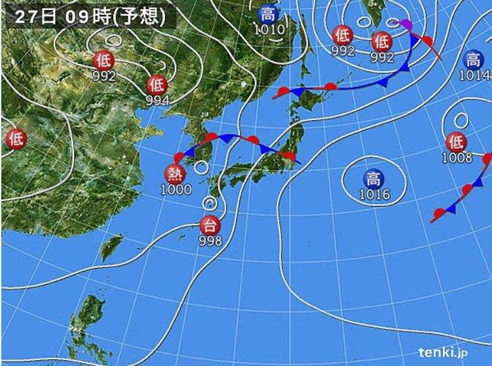 熱帯低気圧 27日には台風に変わる見込み