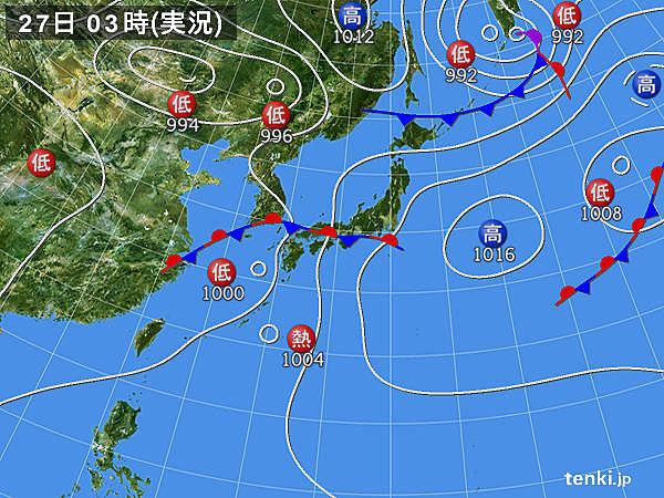 27日 熱帯低気圧は台風に 梅雨前線は活動が活発化