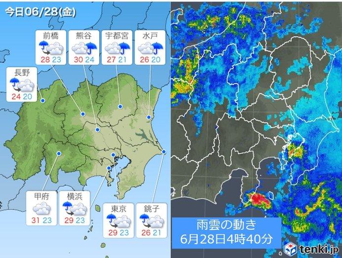 28日関東 台風の後も急な雨や雷雨 真夏日の所も