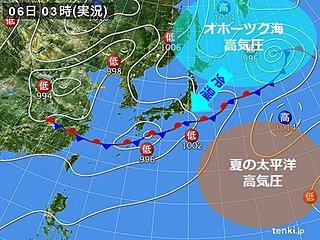 土日 夏の高気圧 勢力弱めて 冷たい北東風
