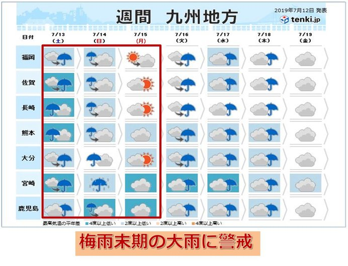九州 3連休の天気 激しい雨のおそれ