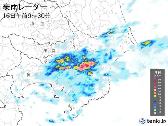 関東に発達した雨雲 横浜でザーザー降りの雨