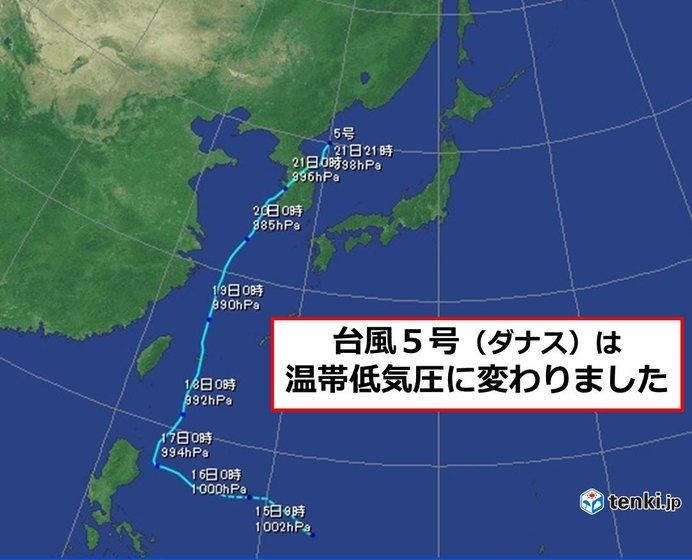 台風5号「ダナス」 温帯低気圧に変わりました