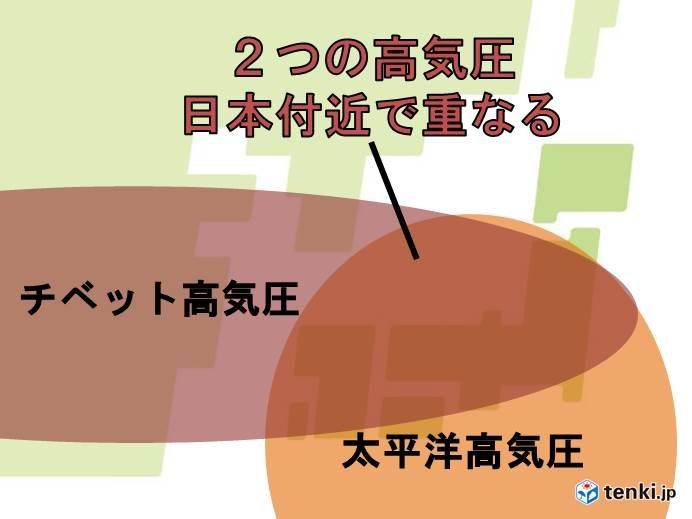 24日(水)以降 太平洋高気圧とチベット高気圧 日本列島を覆う