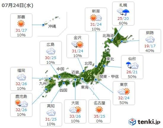 24日 急な雷雨と危険な暑さに注意 35度予想も