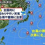 25日も雷雨注意 特に関東は不安定 台風の卵は北上