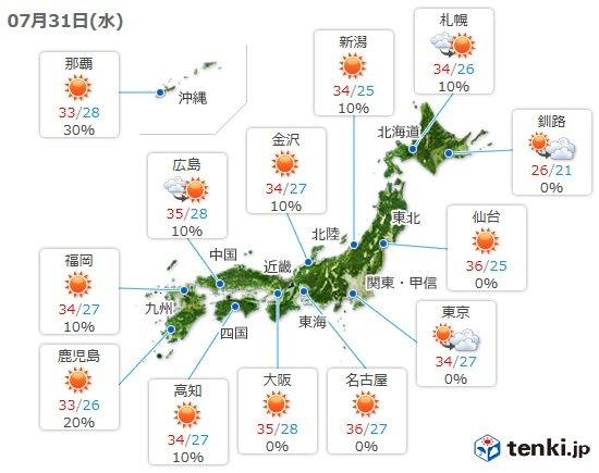 31日 全国的に危険な暑さ 局地的な長時間の雷雨も