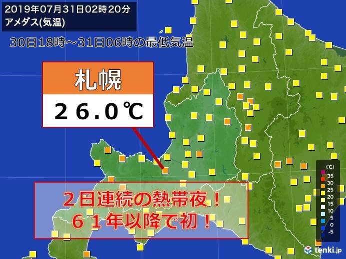 札幌 2夜連続熱帯夜 61年以降で初