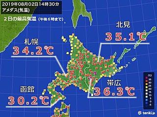 北海道も猛暑続く 猛暑日3日連続に