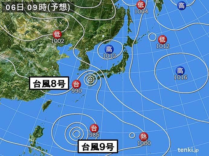 週間 台風8号九州に上陸へ 台風は次々と日本付近に_画像