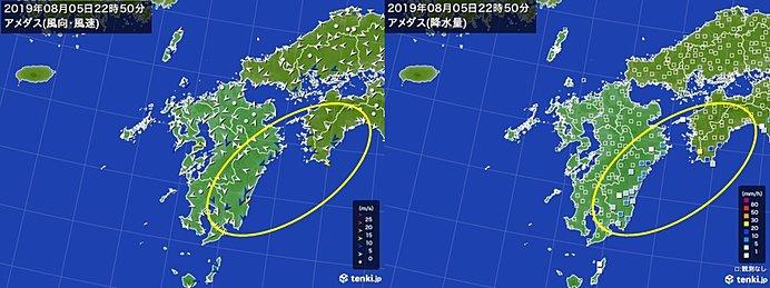 宮崎県や高知県に活発な雨雲 沿岸部から風強まり始める
