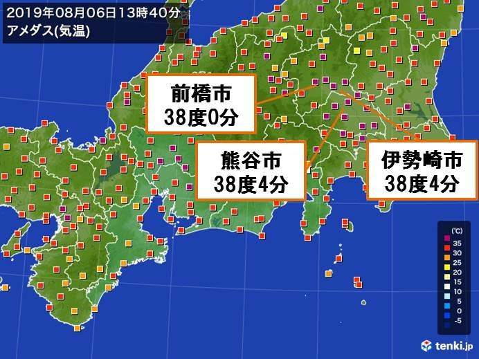 関東で気温38度以上 今年初