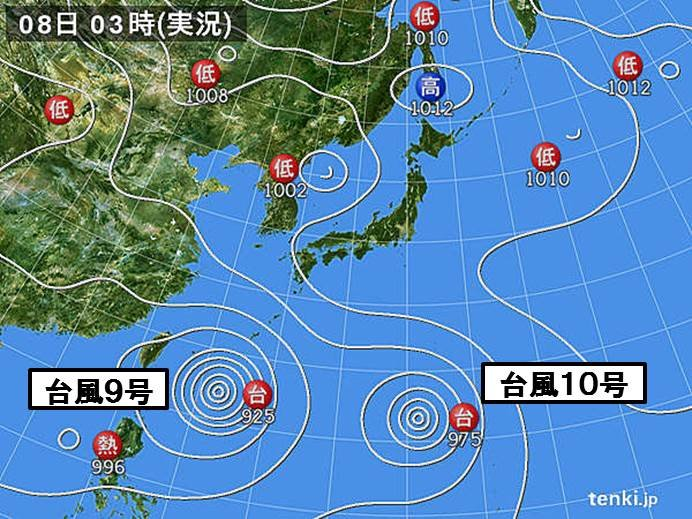 8日 立秋 厳しすぎる残暑 台風9号と10号北上