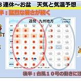 九州 お盆にかけて猛暑と台風10号の動きに注意