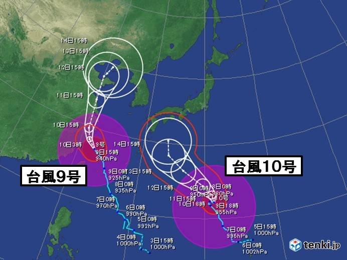 台風10号 海面水温の高い所をゆっくり北上