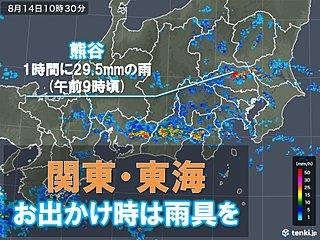 関東・東海 断続的に雨雲が通過中