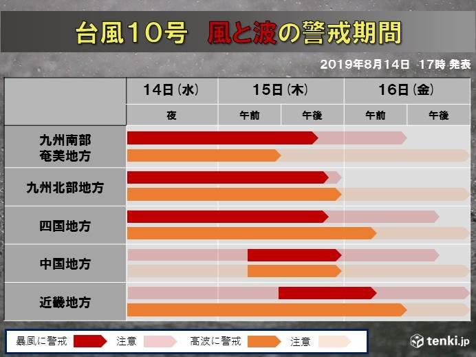 【暴風・高波の警戒期間】15日朝は西日本で猛烈な風に警戒