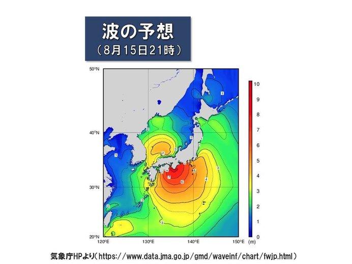 予想される波の高さ 高波・高潮に警戒