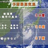 15日 北陸や東北の日本海側 猛烈な暑さ39度予想