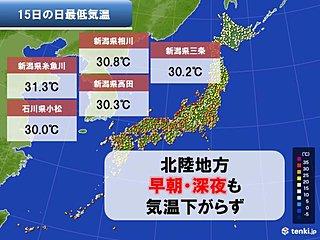 夜中も気温下がらず31度以上 記録更新