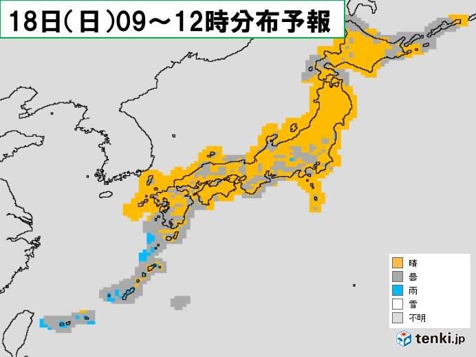 北海道や東北北部は天気回復 関東から九州は太平洋側は雲が多い