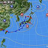 3日の天気 活発な雨雲が北上中