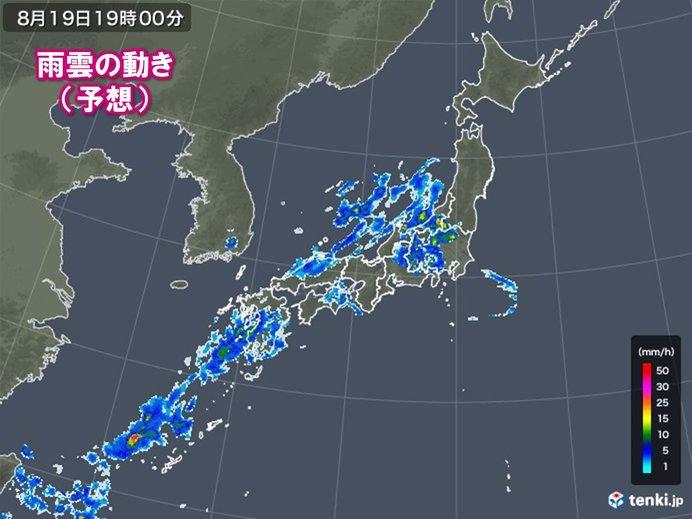 活発な雨雲は西日本や東日本にも