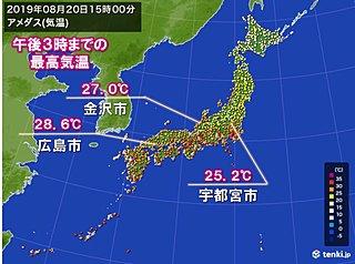 宇都宮や金沢、広島 30度届かず 約1か月ぶり