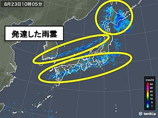 北陸の雨200ミリ超 日本付近に発達した雨雲