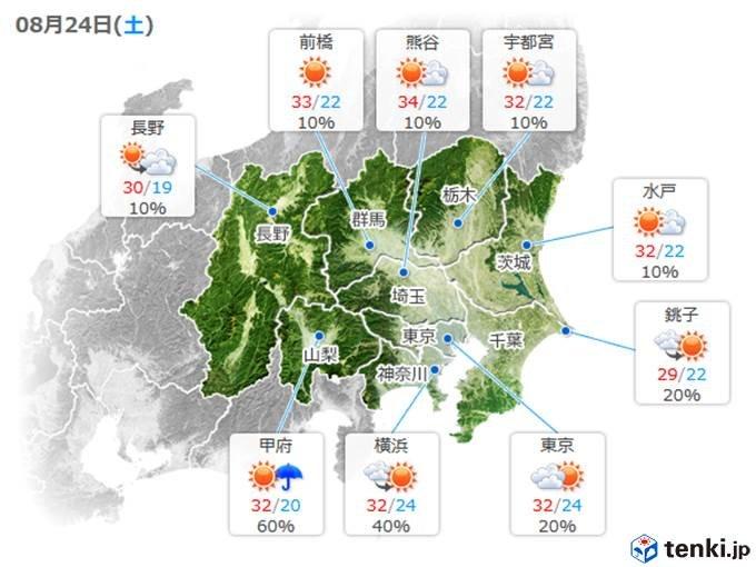 土曜 関東・東海は日差しで気温上昇
