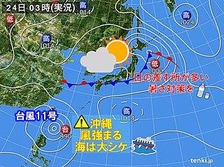 日差し戻る 気温上昇 関東は猛暑も 台風は沖縄へ