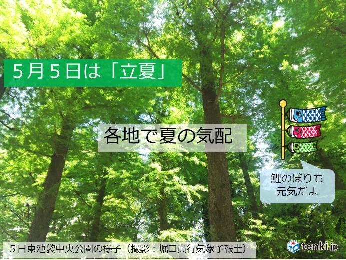 立夏 関東から西は晴天 鯉のぼりも元気
