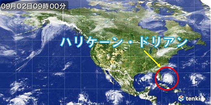 ハリケーン「ドリアン」最も強い勢力でバハマに上陸