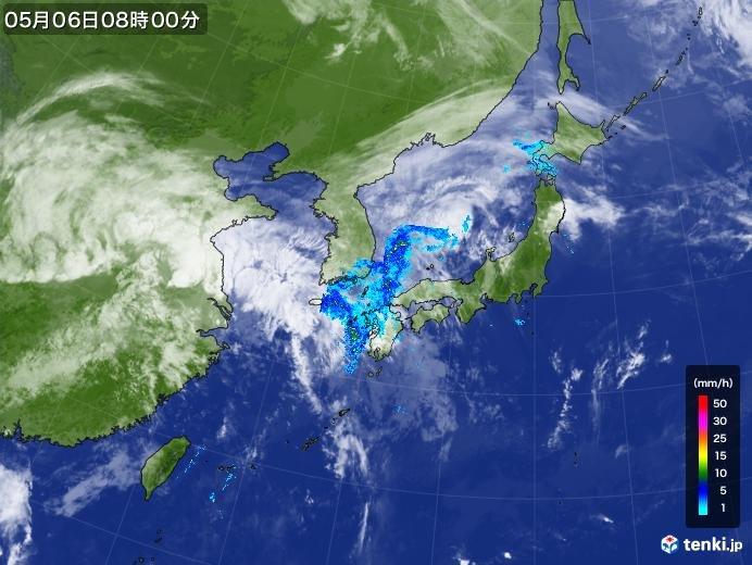 連休最終日 西と北から雨雲じわじわ
