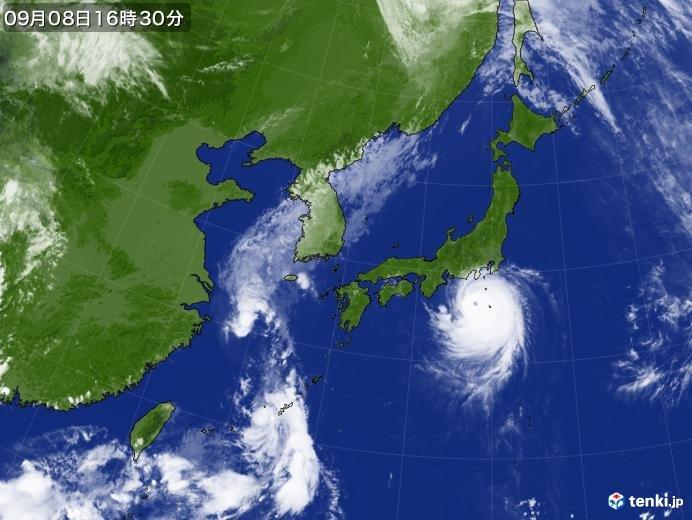 台風北上中 本州に台風本体の発達した雨雲かかり始める