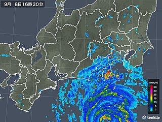台風15号本体の雨雲 本州にかかり始める