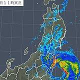 福島県に台風15号の活発な雨雲 滝のような雨に警戒