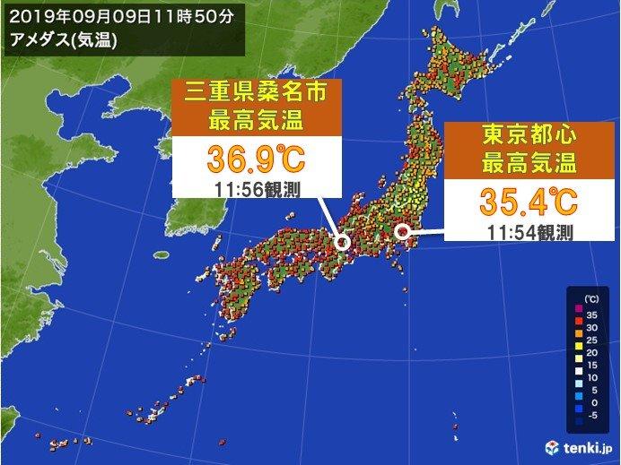 東京都心で35度超 9月としては6年ぶりの猛暑日