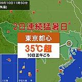 東京都心 9月に2日連続猛暑日 27年ぶり