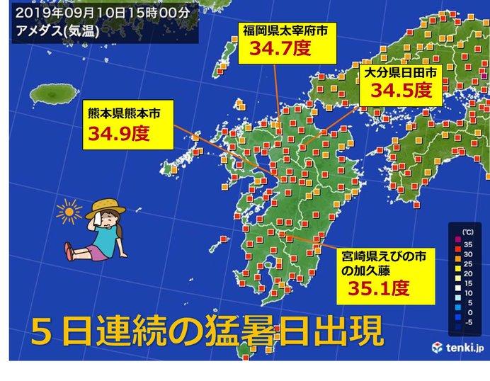 九州 5日連続の猛烈な暑さ