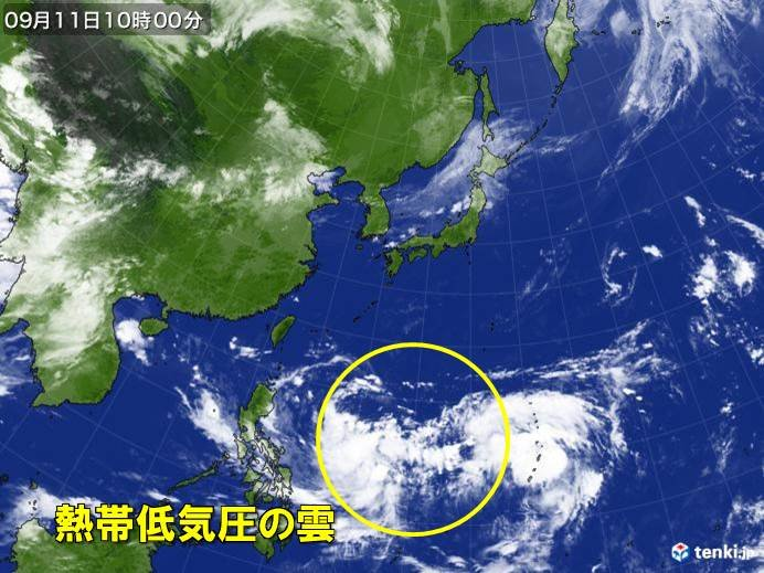 フィリピンの東の熱帯低気圧 台風に発達
