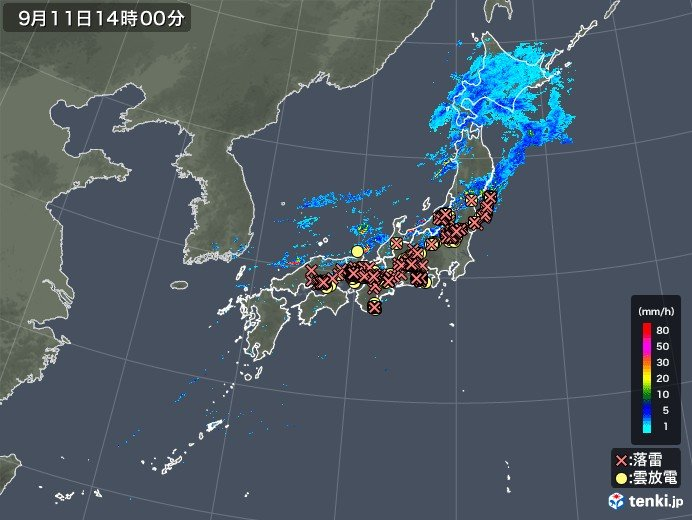山形県で非常に激しい雨を観測 落雷も多発