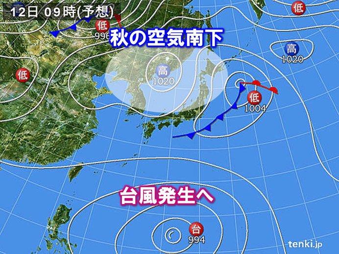 秋の空気南下も南の海上で「台風」発生へ 動きに注意