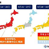 しばらく残暑、台風に注意 一か月予報