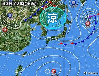 13日 関東以西 日中曇りや雨 残暑和らぐ