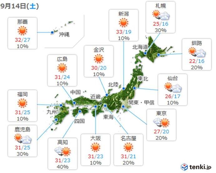 あす14日(土)の天気