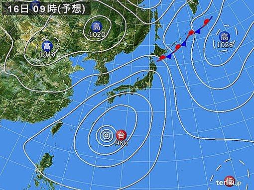 16日(月)敬老の日 太平洋側は雨