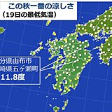 九州 19日この秋一番の涼しさ