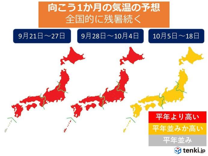 1か月予報 10月も残暑続く